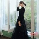 禮服 宴會晚禮服2021新款黑色絲絨長袖氣質長款輕奢小禮服裙女高端年會T