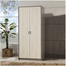 雙門衣櫃 ( 深木色 / 白橡木色 ) 衣櫃 / 收納櫃 / 置物櫃 / &DIY組合傢俱
