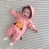 嬰兒連身衣服男寶寶0歲3個月1春秋12春裝6新生兒外出哈衣套裝【快速出貨八折一天】