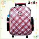 【特價再95折】【UnMe】復古旅行風拉桿後背書包/紅格色3328-R