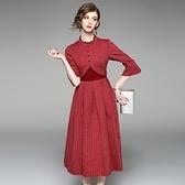 洋裝-七分袖立領蕾絲邊條紋拼接女連身裙2色73of133【巴黎精品】