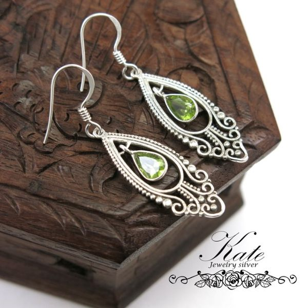 銀飾純銀耳環 天然橄欖石 花式車工 古典雕花 手工款 925純銀寶石耳環 KATE 銀飾