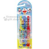 〔小禮堂〕哆啦A夢 日製學童牙刷組《3入.紅黃藍.朋友.適3歲以上.附貼紙》4543112-96871