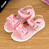 女童 2019年 冰雪奇緣 FROZEN 蝴蝶結魔鬼氈 兒童涼鞋 平底涼鞋 MIT製造 正版售權 59鞋廊