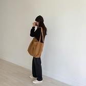 帆布包 韓版休閑百搭ins大容量斜挎布袋包復古慵懶風單肩帆布包女學生包 交換禮物