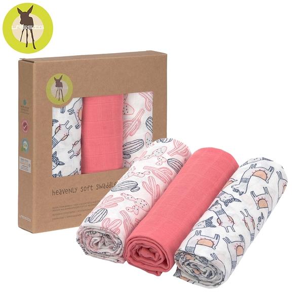 德國LASSIG-超柔手感竹纖維嬰兒包巾毯3入-羊駝粉