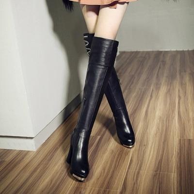 真皮過膝靴-精美奢華水鑽裝飾粗跟女長靴73iv20【時尚巴黎】