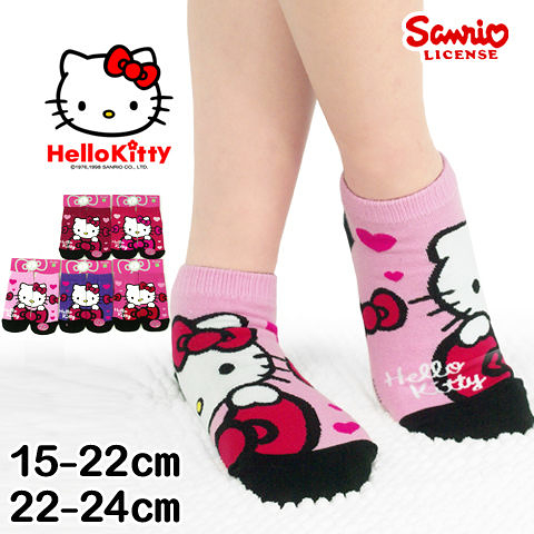 三麗鷗 Kitty直版襪 蝴蝶結愛心款 台灣製 Sanrio