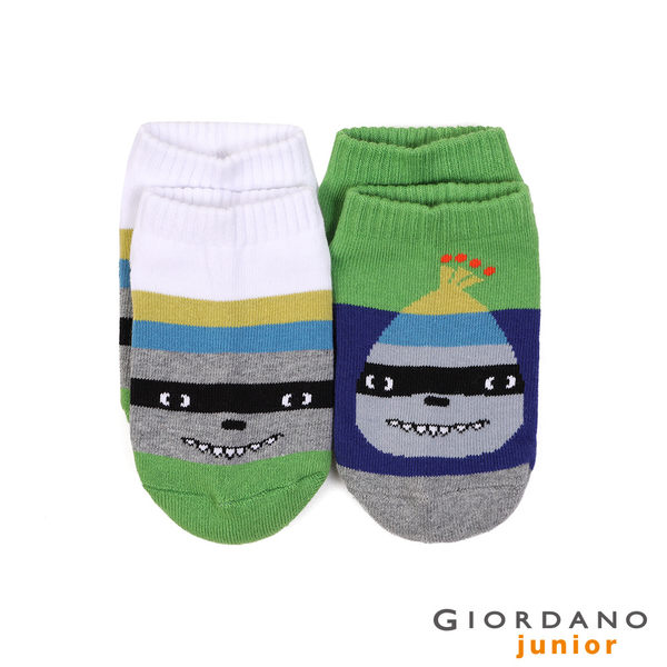 【GIORDANO】童裝可愛動物造型撞色短襪(兩雙入) - 03 綠x藍/白x條紋