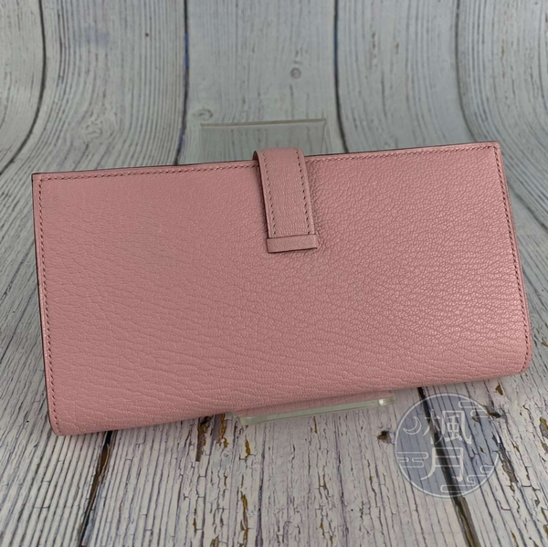 BRAND楓月 HERMES 愛馬仕 T刻 淺粉色 櫻花粉 銀扣 BEARN 長夾 皮夾 錢包