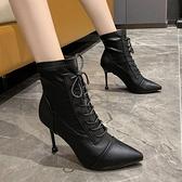 聖誕禮物高跟鞋女2021新款秋冬季尖頭系帶短靴女鞋子細跟瘦瘦靴馬丁靴