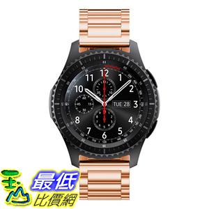 [106玉山最低比價網] 三星Gear S3 Classic Frontier手錶錶帶 替換腕帶 金屬不銹鋼22mm 玫瑰金