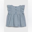 Gap女嬰甜美荷葉邊飾連體衣套裝544276-藍色紋路