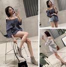 EASON SHOP(GU0535)豎條紋吊帶細肩帶露肩一字領寬鬆平口長袖襯衫藏青色白色大翻領V領韓版女上衣