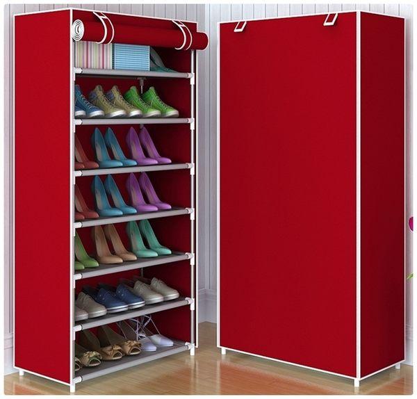 【八層鞋架】DIY組裝8層7格置物架 鞋櫃 附防塵罩收納置物架 防塵套