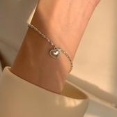 為晚 s925銀米粒愛心閨蜜手錬女學生設計感小眾復古甜美桃心手串 陽光好物
