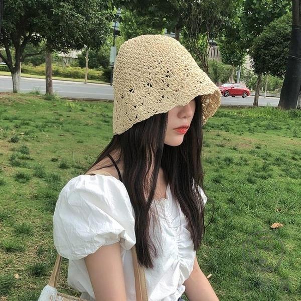 日系防曬遮陽漁夫帽編織草帽可折疊韓版水桶帽女【小酒窩服飾】