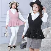 ★韓美姬★中大尺碼~娃娃領襯衫兩件式長袖上衣(XL~4XL)