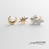 yunique Backyard 月亮兔三件式耳環