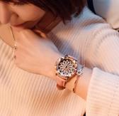2017新款水鑽表 時尚 流手錶女士皮帶韓版時來運轉石英表休閒