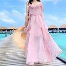 法式桔梗裙初戀一字肩吊帶洋裝仙女超仙森系沙灘裙 琪朵市集