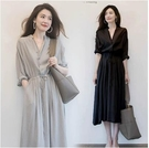 洋裝~短袖連身裙~棉麻洋裝連身裙~氣質V...