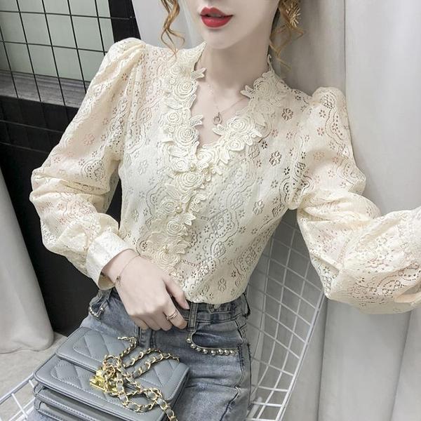 清倉特價 法式V領打底襯衫女設計感小眾秋冬新款內搭氣質鏤空蕾絲上衣