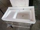 【麗室衛浴】陶瓷洗衣槽 含白鐵置物架2194 寬70CM*深47CM*總高82CM   另有寬80CM款