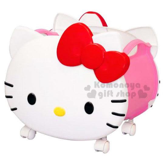 〔小禮堂〕Hello Kitty 日製臉形滾輪收納箱《大.白.蝴蝶結》人氣熱賣商品 4904121-31335