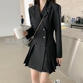 職業裙西裝洋裝女裝春秋季冬新款黑色收腰顯瘦小黑裙長袖氣質裙子 快速出貨
