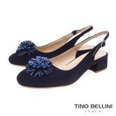 Tino Bellini 西班牙進口優雅繁花後拉帶中跟包鞋 _ 藍 A83023 歐洲進口款