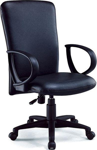 HY-Y182-3  高背辦公椅(黑皮/PU泡棉)