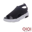 涼鞋 簡約大方素面厚底涼鞋(黑)*010...
