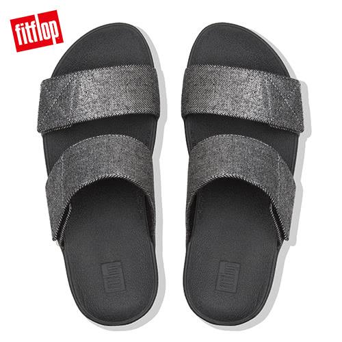 新降7折  【FitFlop】MINA DENIM SLIDES 可調式釦環涼鞋-女(靚黑色)