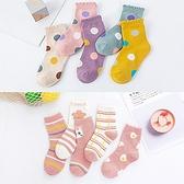 可愛點點荷包蛋圖案短筒襪5 入組童襪短筒襪襪子