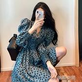 春裝2021新款爆款法式復古收腰顯瘦氣質V領泡泡袖百搭碎花洋裝 韓語空間