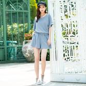 春夏7折[H2O]休閒風連身短褲針織洋裝 - 黑/粉/淺灰藍色 #0684001