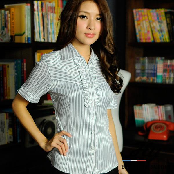 【大尺碼-HY-861-7GZ】華特雅-絲光亮眼OL花邊短袖女襯衫(淺灰亮銀條紋)