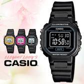 CASIO 手錶專賣店 卡西歐 LA-20WH-1B  中性錶 黑面黑框  壓克力鏡面塑膠錶帶 數字 電子錶 碼錶功能