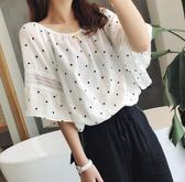 簍空蕾絲喇叭袖波點棉麻衫 CC KOREA ~ Q16896