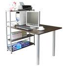 台灣製-深80x寬120/公分-置物架型書桌 電腦桌 附桌式置物架(深胡桃木色)TB80120T4-DW