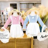 女童套裝 童裝2019女童秋裝新款半身裙套裝格子系帶娃娃衫 蕾絲短裙兩件套