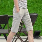 休閒短褲男褲子 亞麻短褲男夏季修身中褲男夏季天薄款男士5五分褲《印象精品》t1474