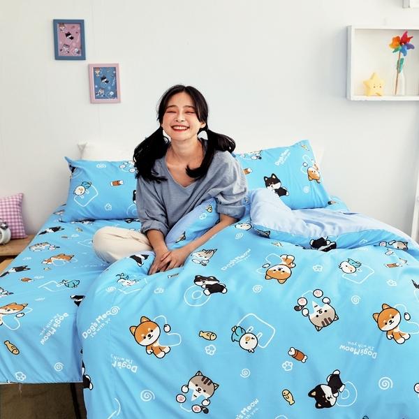 床包 / 單人【逗柴貓藍】含一件枕套,磨毛多工法處理,戀家小舖台灣製 柴犬 貓