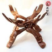 黑酸枝木手架果盤核桃花盆創意支架木雕紅木擺件托盤