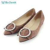 【Bo Derek 】平結鑽飾圓圈平底鞋-粉色