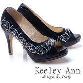 ★2017秋冬★Keeley Ann高貴迷人~閃耀水鑽花紋造型真皮軟墊高跟魚口鞋(黑色)
