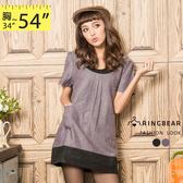 洋裝 眼圈熊Ringbear眼圈熊-復古風格.胸口壓折撞色雙口袋洋裝A188 (黑、紫S-2L)