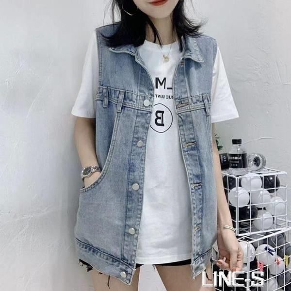 春夏季新款2020女裝網紅牛仔馬甲女韓版寬松無袖背心馬甲外套潮
