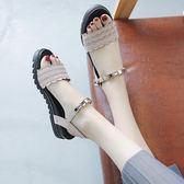 羅馬涼鞋女夏新款時尚百搭學生休閒厚底平底海邊沙灘鞋韓版潮 Korea時尚記